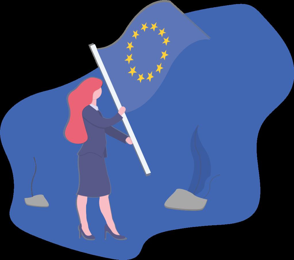 Mujer emprendedora con una bandera de Europa